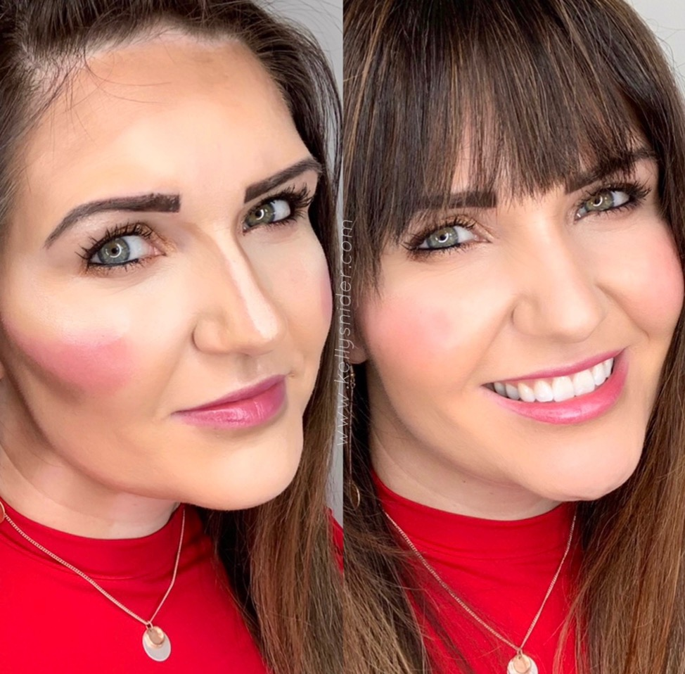 How to Contour in 5 Easy Steps by popular beauty blogger and top artist with Maskcara Beauty, Kelly Snider; Image of side-by-side photo of brunette woman with maskcara iiiD foundation on both before and after blending.