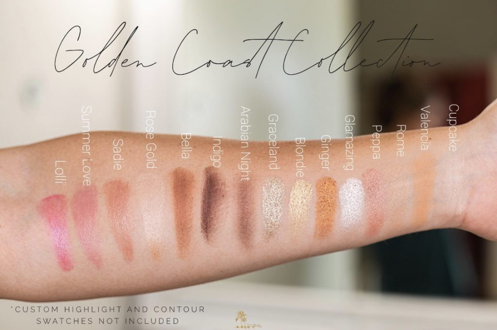 Summer Makeup Must-Haves by popular beauty blogger and top artist with Maskcara Beauty, Kelly Snider;  of an arm with swatches of the colors from the Maskcara Beauty Golden Coast Collection.