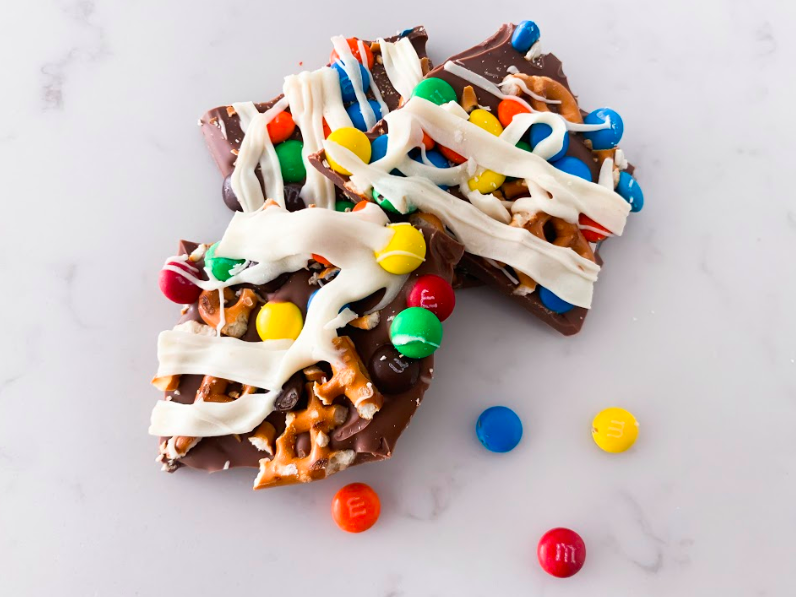 Popular Lifestyle and Beauty Blogger, Kelly Snider, shares an easy Chocolate Bark Recipe; Image of chocolate bark with m&ms and pretzels.
