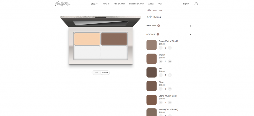 Popular Utah beauty blogger and independent Maskcara Beauty artist, Kelly Snider's step-by-step tutorial on how to use the Maskcara Palette builder; image from the Maskcara Beauty website demonstrating how to use the online Maskcara Palette builder.