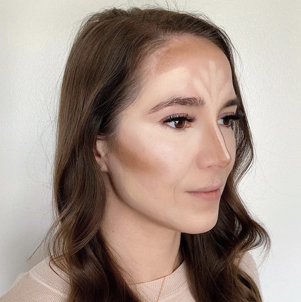 How to Contour in 5 Easy Steps by popular beauty blogger and top artist with Maskcara Beauty, Kelly Snider; Image of third step applying the contour color.